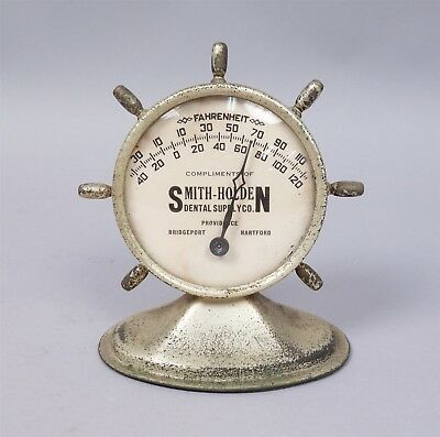 Vintage Early 20c Silver SP Dental Ship's Wheel Pedestal Advertising Thermometer