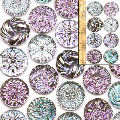 22mm Vintage Czech Glass BLUE LILAC AB Shankless No Shank Cabochon Buttons 8pc
