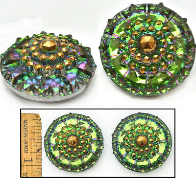 32mm Vintage Czech Glass Mirror Faceted Green FIRE AB Domed Nailhead Buttons 2pc
