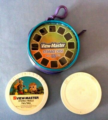 Viewmaster Storage Case- Holds 48 Reels - Zipper And Clip Plus 2 Reel Holders