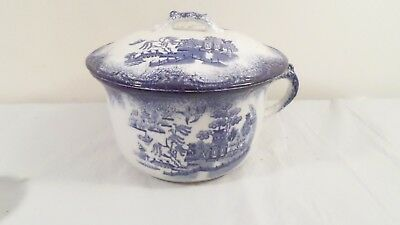 Vintage Blue & White Chamber Pot Bowl with Lid and Handle Asian Themed 9.25 diam