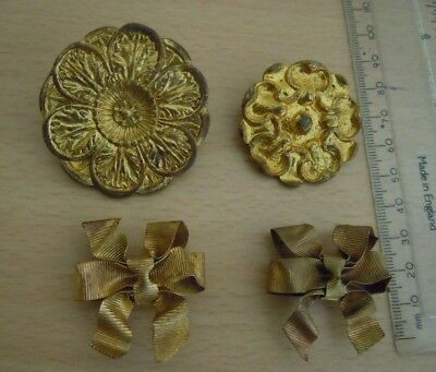 French Gilded Brass Picture Hook Covers.(4)