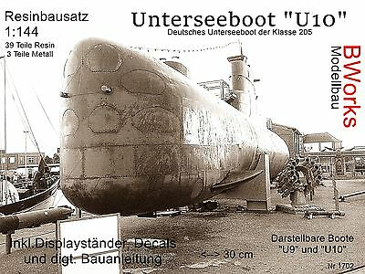 "RESIN ""U10"" Uboot Klasse 205, 1:144, Bausatz 42 Teile, Decals deutsche Marine"