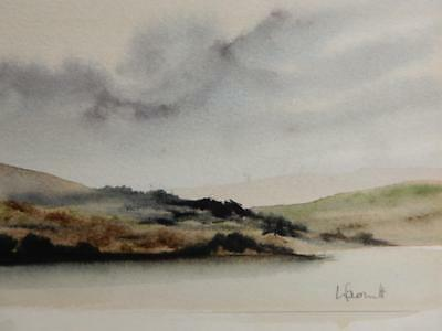 old PAINTING water colour miniature landscape signed