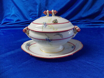 Antique Continental White Porcelain Gravy Boat Floral And Butterflies