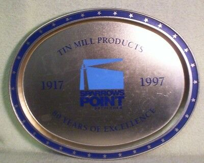 Metal Sparrows Point Bethlehem Steel 1917 1997 Tin Mill Products Oval Tray 80 Yr