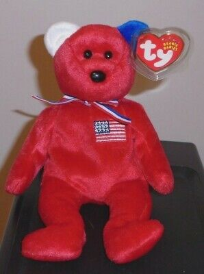Ty Beanie Baby ~ AMERICA RED (Reverse Ears) the Bear (Internet Exclusive) MWMT