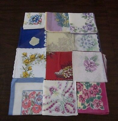 Vintage Lot of 12 Handkerchiefs Hankie Lot Floral Pattern Flowers