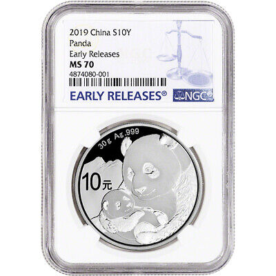 2019 China Silver Panda 30 g 10 Yuan - NGC MS70 Early Releases