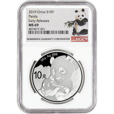 2019 China Silver Panda 30 g 10 Yuan - NGC MS69 Early Releases Ink Brush