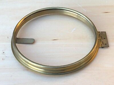 Nos Wall Or Mantle Clock 6 Inch Dial Spun Brass Bezel With Sight Ring & Hinge