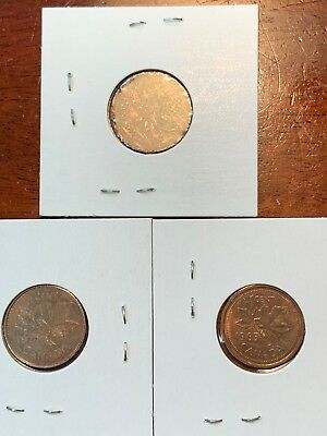 1981, 1985 & Unknown Canadian Maple Leaf 1 Cent Coin-Canada Penny