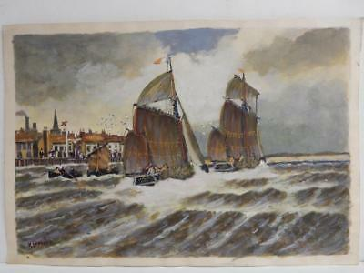 VINTAGE old PAINTING SEA SAIL SHIP signed H FOSTER
