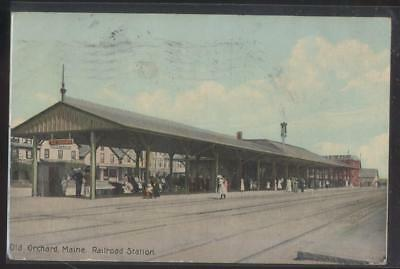 Postcard OLD ORCHARD Maine/ME  Early 1900's Railroad Train Station Depot 1907