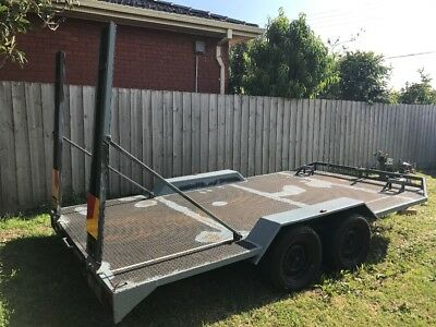 14Ft Tandem Car Trailer Carrier With Ramps, Winch, Jockey Wheel