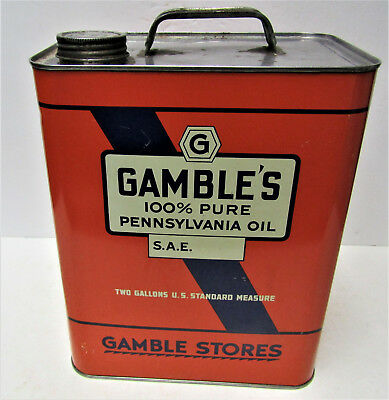 Oid GAMBLES 100% PENNSYLVANIA MOTOR OIL 2 Gal Metal Tin Advertising Display Can