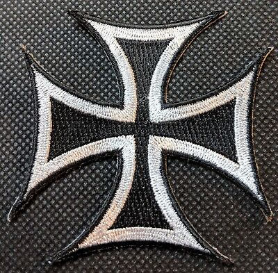Iron Cross White and Black German Cross Motorcycle Patch Biker Patch