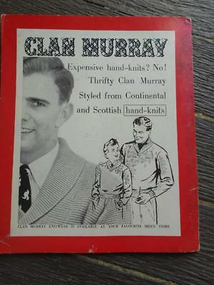 C 1950 's Clan Murray Knitwear advertising mens Australia point of sale card