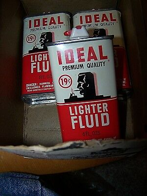LOT OF Vintage, IDEAL LIGHTER FLUID, 3 EMPTY TIN CANS AND OLD DISPLAY