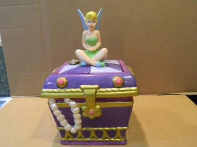 Disney Store Pottery Cookie Jar - Tinkerbell on Treasure Chest Retired
