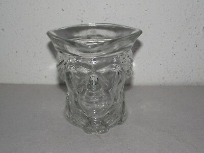 Avon clear glass patriot colonial revolutionary soldier candle holder ~Z