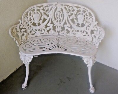 Vintage Antique Wrought Iron Metal Victorian Style Garden Bench Loveseat