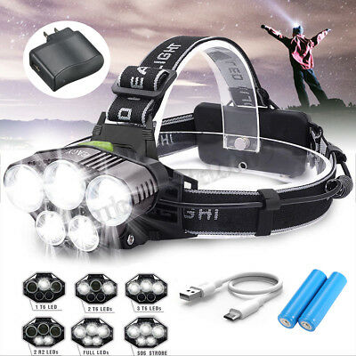 90000LM LED Headlamp 5X T6 Headlight Torch Rechargeable Lamp+18650+USB+Charger