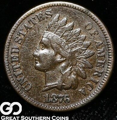 1876 Indian Head Cent Penny, Scarce Date