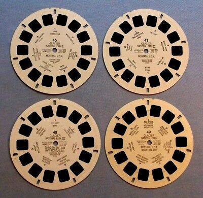 Viewmaster Reels - Glacier National Park - Rare Set Of 4 In Very Good Condition
