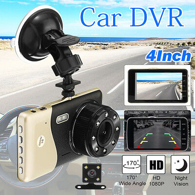 Dual Lens Camera HD 1080P 170° Car DVR Video Dash Cam Front Rear Recorder 4''