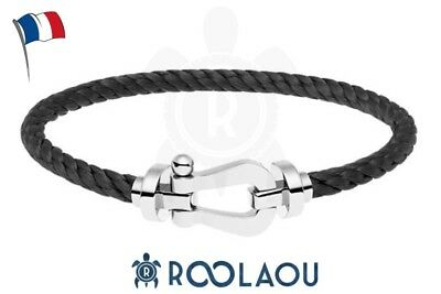 Bracelet Homme Acier Inoxydable Style Fred force 10 France Cuir bangle luxe