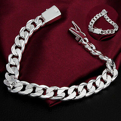 Chic 10MM 925 Silver Chain Bracelet Bangle Jewelry Men &Women Valentine's Gifts