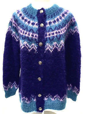 Icelandic Design Nordic Hand Knit Fair Isle Cardigan Sweater Fuzzy Mohair M L