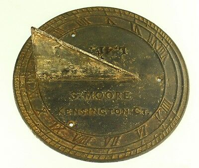 !Antique 1840-41 EX-RARE American Cast Iron Sundial SHELDON MOORE KENSINGTON, CT