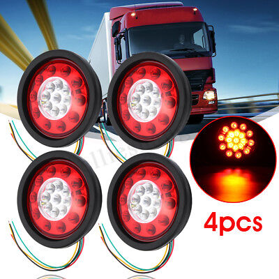 "4x 4.37"" Round 19LED Truck Trailer Lorry Brake Stop Turn Tail Light Lamp 12V/24V"