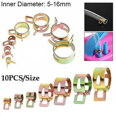 10Pcs 5-16mm Spring Clips Fuel Oil Water Hose Clip Pipe Tube Clamp Fastener
