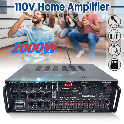 110V 2000 Watts 2 Channel Pro Bluetooth Power Amplifier AMP Stereo Audio USB