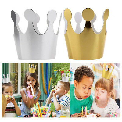 3/6Pcs Kids Adult Baby Birthday Hats Cap Crown Princess Party Decor Paper Supply