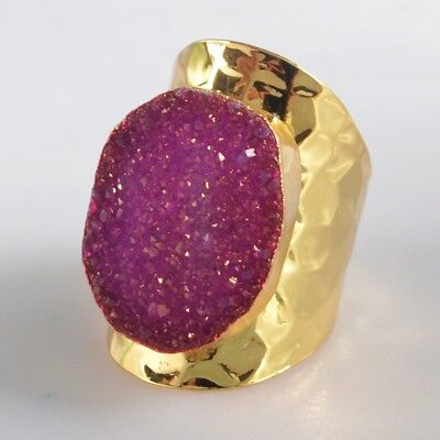 Size 7 Hot Pink Agate Titanium Druzy Ring Gold Plated H128906