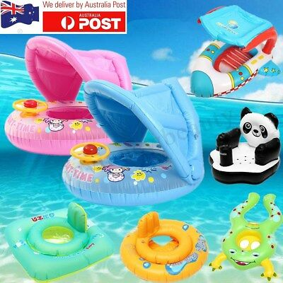 Baby Toddler Sunshade Inflatable Float Seat Boat Swimming Ring Raft Canopy AU