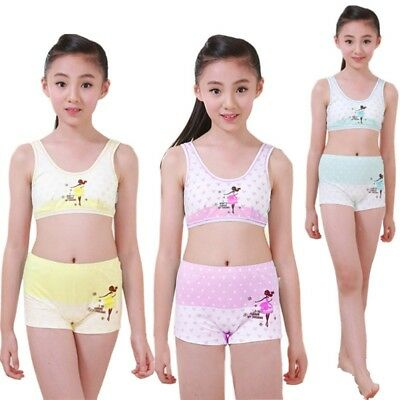 70e750f32fbfe 2pcs Student Girls Cotton Bra+Pant Underwear Set Puberty Girls Training Bras  NEW