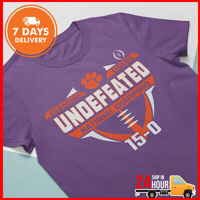 Clemson Tigers 2018 2019 Football T Shirt National Champions Purple Undefeated T