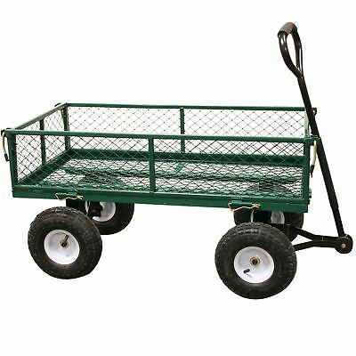 Rhyas Heavy Duty Garden Trolley Cart Wheelbarrow Trailer Large 320kg