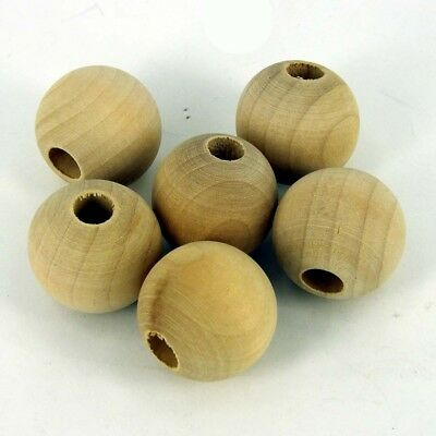 30mm 34mm Natural Round Untreated Plain Wooden Balls Bead  Hole W191