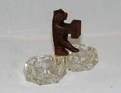 Antique, Carved Black Forest Bear Playing Accordion, On Double Bowl Salt Cellar.