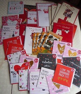 Job lot of over 40 x Valentine cards suitable for market stall or car boot