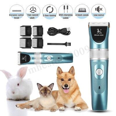 Electric Cordless Pet Grooming Clippers Dog Cat Hair Trimmer Shaver Comb Kit