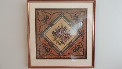 Framed needlepoint in silk and fine wool