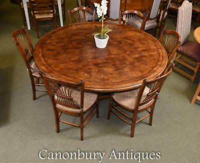 Round Refectory Dining Table - Oak Wood Kitchen Diner