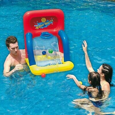 Kids Inflatable Basket Ball Swimming Pool Float Game Basketball Water Sports Fun
